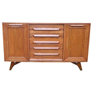 Sculpted Mid-Century Modern Credenza Media Stand