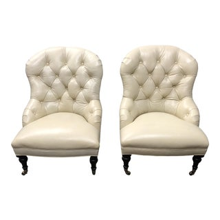 Williams Sonoma Home Carlyle Leather Chairs - A Pair