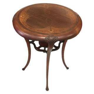 Antique Art Nouveau Marquetry Table