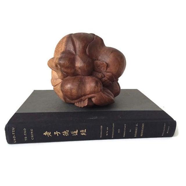 Image of Vintage Carved Wood Meditation Monk Statue Display