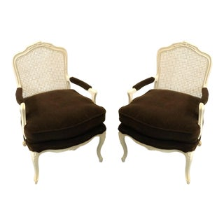 French Style Brown Mohair Chairs - A Pair