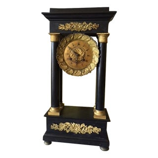 Gilt Metal & Black Marble Portico Mantel Clock