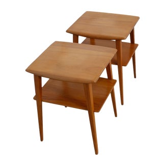 Heywood-Wakefield Side Tables With Shelf - A Pair