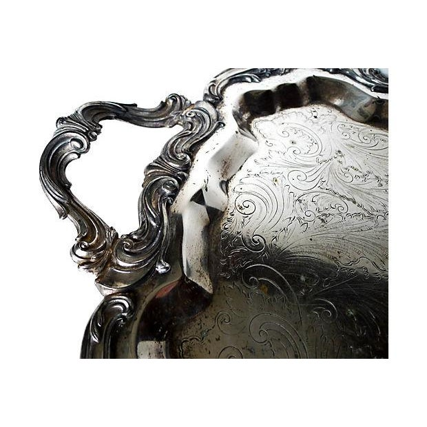 Large and Highly Ornate Silverplate Footed Tray - Image 2 of 5