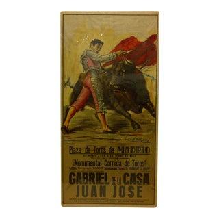 1969 Vintage Spanish Bull-Fighting Poster