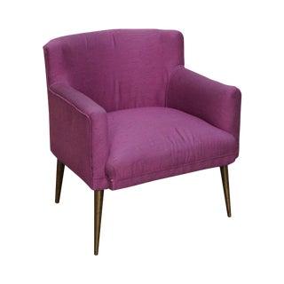 Italian Mid Century Modern Brass Leg Small Boudoir Lounge Chair