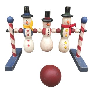 Handmade Vintage Wooden Snowman Pins And Bowling Ball Game