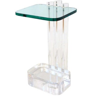 Les Prismatiques Lucite and Glass Side Table