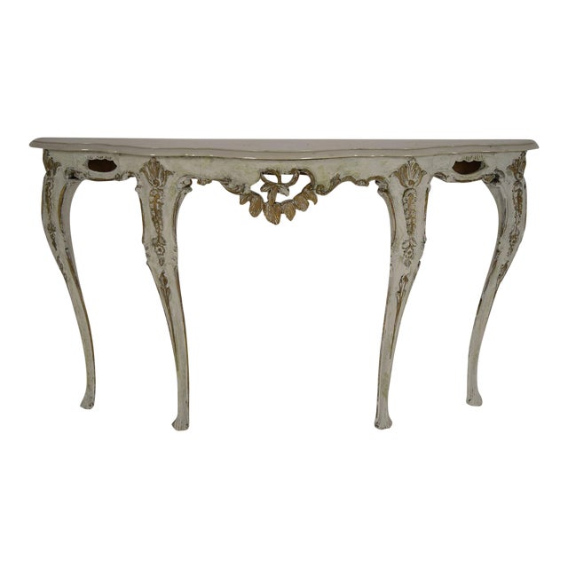 Louis XV-Style Italian Marble Top Wall Console - Image 1 of 8