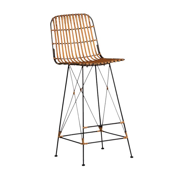 Bamboo & Iron Bar Stool - Image 1 of 2