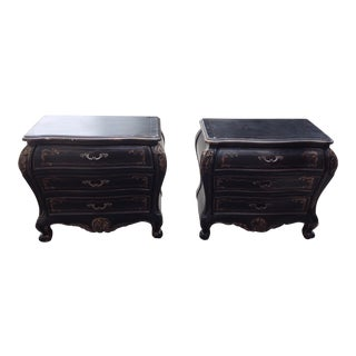 Louis XV Black and Gold Ornate Nightstands - Pair