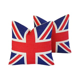 Iconic British Union Jack Flag Linen Feather/Down Pillows - Pair