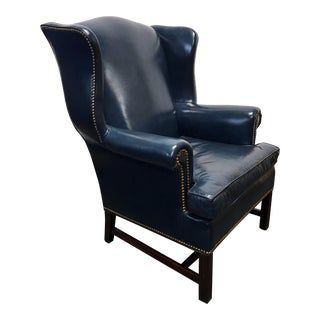 HANCOCK & MOORE Navy Blue Leather Chippendale Wing Chair with Nailhead Trim
