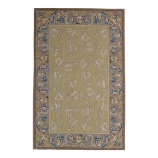 French Aubusson Design Hand Woven Wool Rug - 6' x 9'