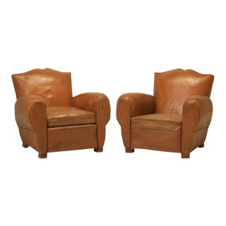 French Leather Club Chairs in a Moustache Style