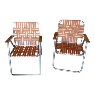Mid-Century Aluminum Webbed Outdoor Folding Chairs - A Pair