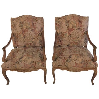 Distressed Finely Carved Louis XV Style Fauteuils - A Pair