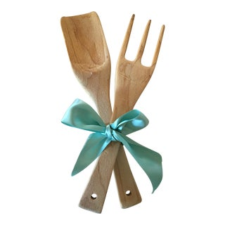 Rustic Hand Carved Wooden Serving Utensils - A Pair