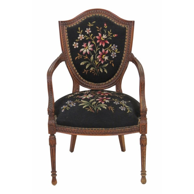 louis xvi style carved walnut fauteuil chairish. Black Bedroom Furniture Sets. Home Design Ideas