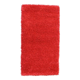 Solid Red Shag Rug - 5'4''X 7'9''