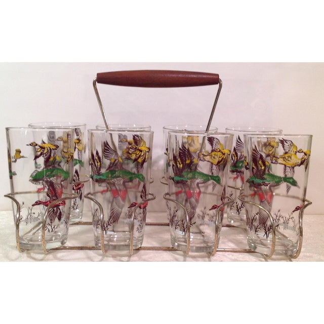 Mid-Century Modern Duck Glasses With Caddy- Set of 8 - Image 2 of 6