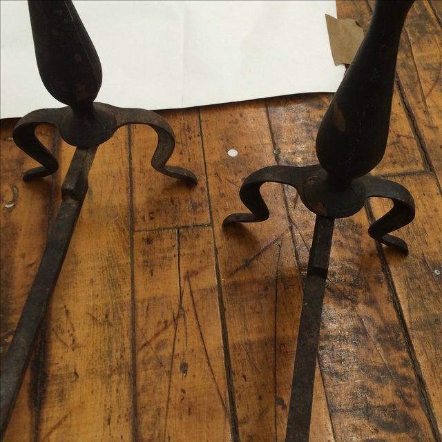 Image of Petite Iron & Brass Andirons - A Pair