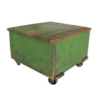 Green Wooden Cart Table