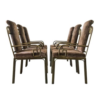 Set of Six Mastercraft Brass Greek Key Dining Chairs