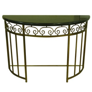 Demilune Entryway Metal Console Table With Marble Top