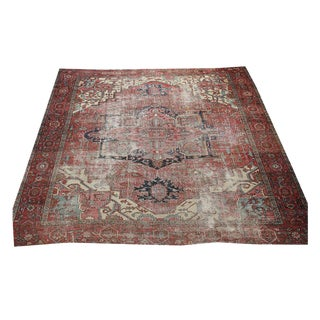 North West Persian Distressed Antique Serapi Rug - 10′4″ × 11′10″
