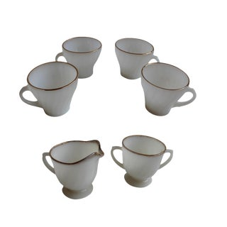 Milk Glass Tea Cups, Sugar and Creamer
