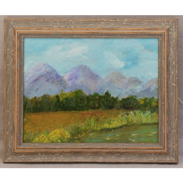 Framed Mountain Landscape Oil Painting - Image 9 of 9