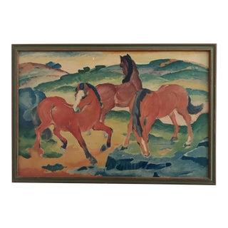 Mid-Century Framed Horses Print