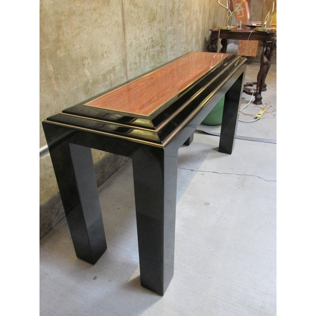 Image of Rougier Regency Style Black Lacquer Console Table