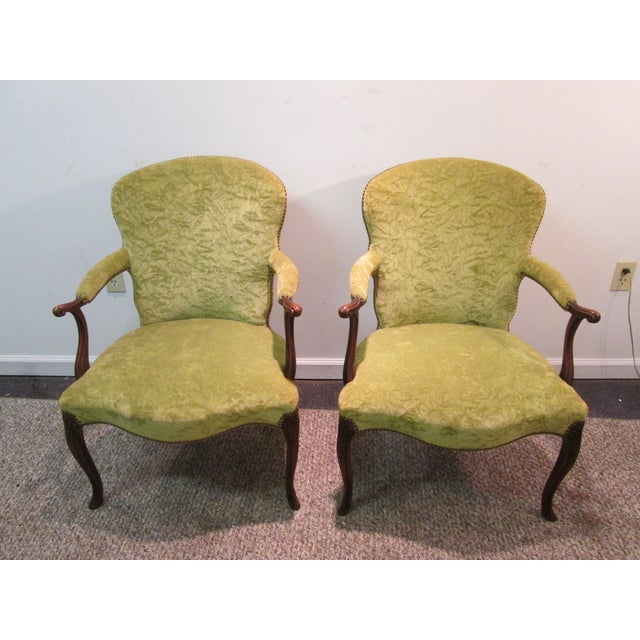 Matching Upholstered French Arm Chairs - Pair - Image 2 of 11