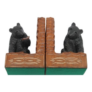 Pair of Hand-Carved Bear Bookends