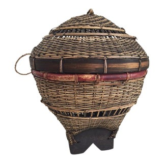 Vintage Boho Rattan & Wood Lidded Basket