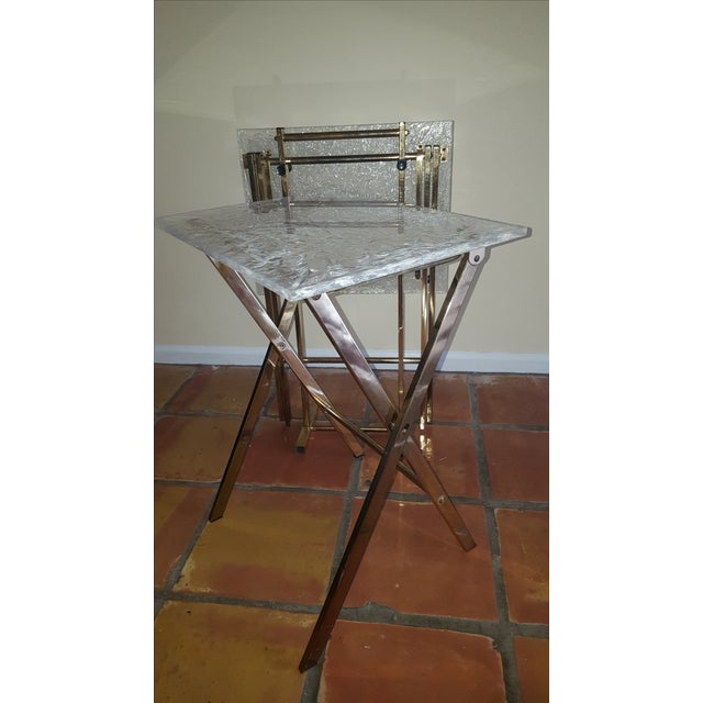 Lucite & Brass Tray Tables & Caddy - Set of 2 - Image 4 of 7