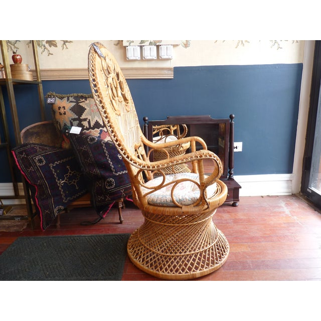 Curly Wicker Throne Chair - Image 7 of 9