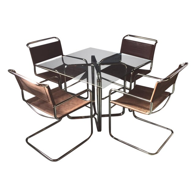 Crome & Glass Cantilever Dining Set - Image 1 of 11