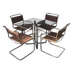 Image of Crome & Glass Cantilever Dining Set