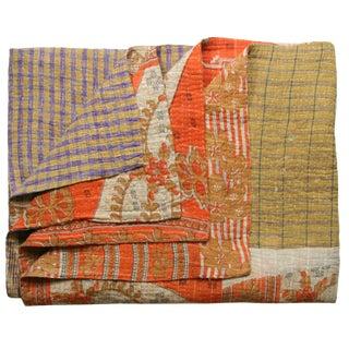 Orange Vintage Kantha Quilt