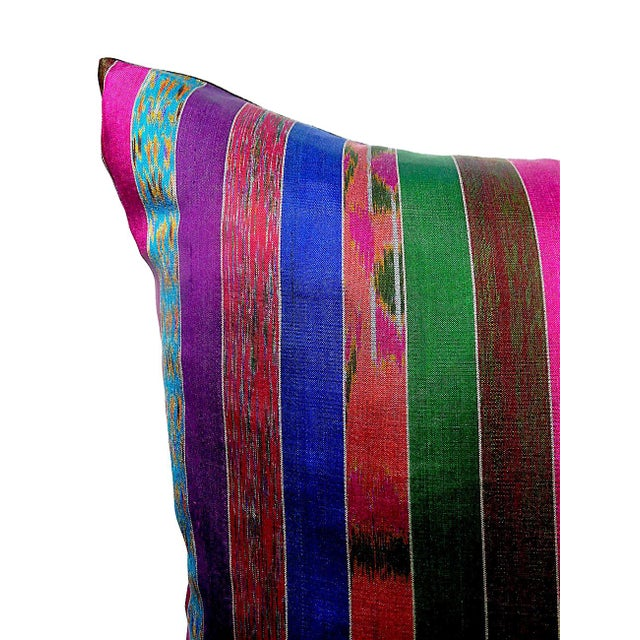 Silk Ikat Multi Stripe Floor Pillow - Image 3 of 7