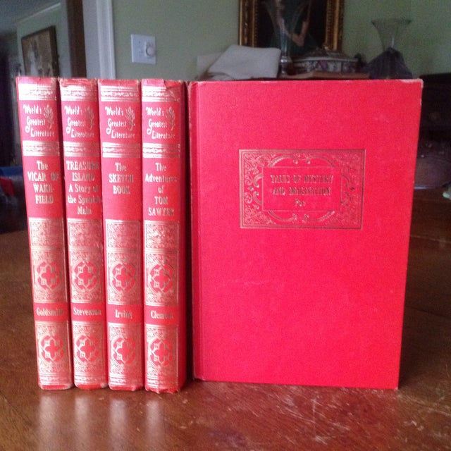 Mid-Century Decorative Red & Gold Classic Books - Set of 5 - Image 3 of 11