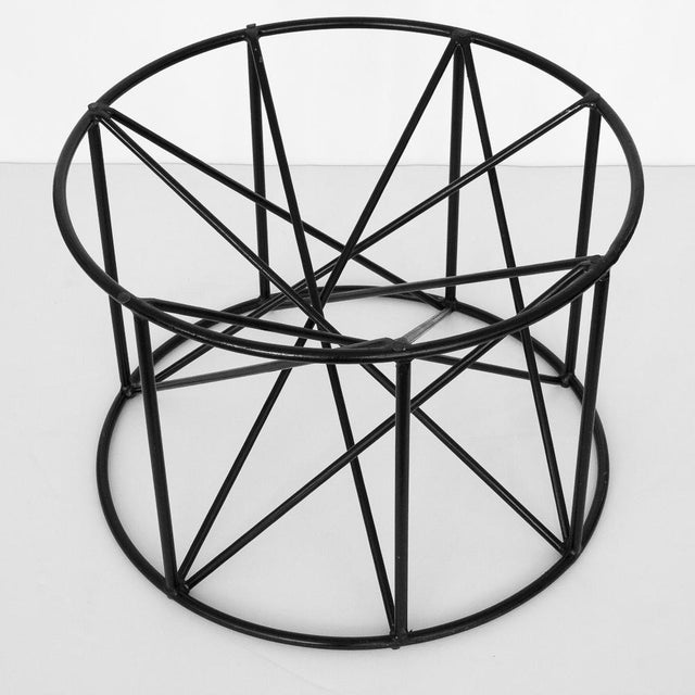 Image of Black Steel Spokes Sculptural Glass Coffee Table