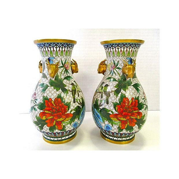 Chinese Colorful Cloisonne Vases - A Pair - Image 3 of 7