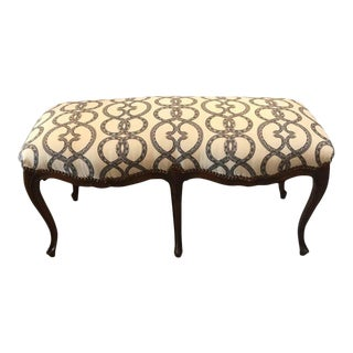Italian Carved Walnut Upholstered Bench