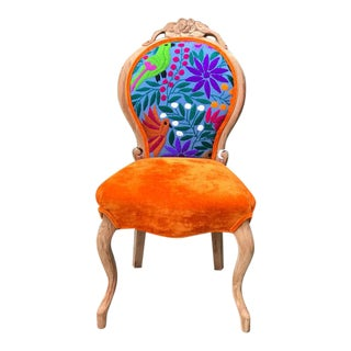 Mexican Embroidered Velvet Side Chair