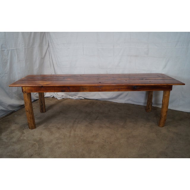 Antique Salvage Wood Long Pine Farm Dining Table Chairish