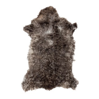 Authentic Handmade Black & White Sheepskin Rug - 2′ × 3′4″